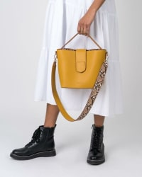 Mersi Isabel Snake Print Bucket - Vegan Leather Bag - Back