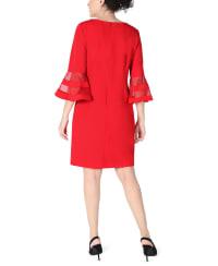 Studio One Women's Red 3/4 Bell Sleeve Crepe Shift Dress - Back