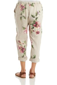Solid Linen Cuffed Pant With Belt - Back