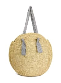 Straw Beach Tote Large Straw Circle W/Cotton Handle - Back