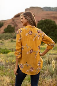 """Gold Embroidered """"To Tie Or Not To Tie"""" Blouse - Back"""
