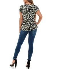 Adrienne Vittadini Short Tulip Sleeve With Keyhole Tee - Back