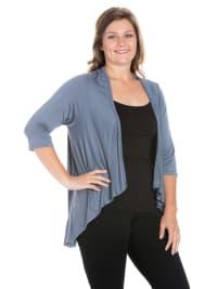 24Seven Comfort Apparel Elbow Length Sleeve Plus Size Open Cardigan - Back