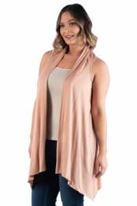 24Seven Comfort Apparel Plus Size Asymmetric Open Front Cardigan - Back