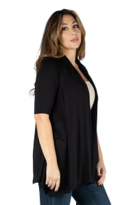 24Seven Comfort Apparel Elbow Length Sleeve Open Front Plus Size Cardigan - Back