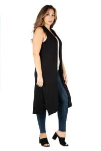 24Seven Comfort Apparel Long Sleeveless Plus Size Cardigan Vest - Back