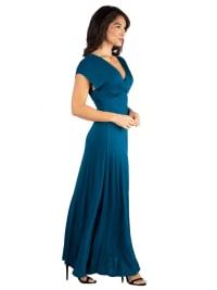 24Seven Comfort Apparel Womens Cap Sleeve V Neck Maxi Dress - Back