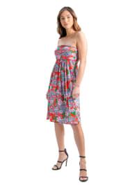 24Seven Comfort Apparel Orange Paisley Strapless Mini Dress - Back