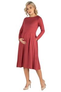 24Seven Comfort Apparel Midi Length Fit N Flare Pocket Maternity Dress - Back