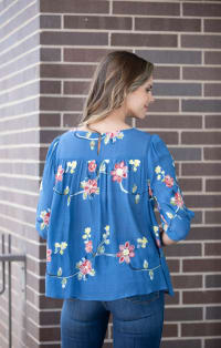 Embroidered Scoop Neck Peasant Top - Back