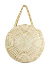 Oversized Woven Straw Jute Circle Tote - Back