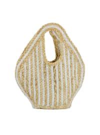 Small Woven Straw Jute Stripe Tote - Back