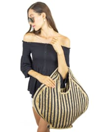 Striped Woven Straw Jute Tote - Back