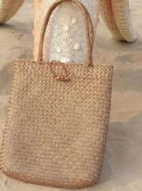 Straw Shopping Bag - Back