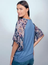 Westport Mix Media Tie Front Knit Top - Misses - Back