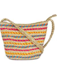 Straw Beach Bag Straw Crossbody Bas with Striping - Back