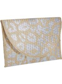 Metallic Straw Leopard Print Clutch - Back