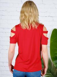 Cold Shoulder Twist Front Knit Top - Misses - Back