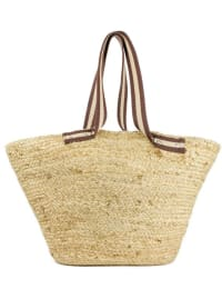 Straw Jute Beach Tote with Striped Canvas Handle - Back
