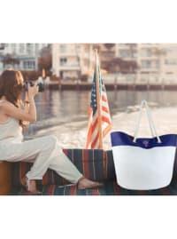 The Hamptons Straw Colorblock Logo Beach Tote - Back