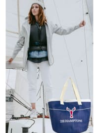 The Hamptons Insulated Logo Straw Tote - Back