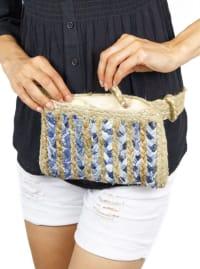 Woven Straw Straw Waist Belt Bag - Back
