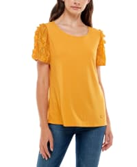 Adrienne Vittadini Short Sleeve With Lace Sleeves Top - Back