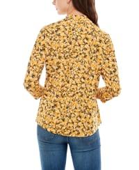 Adrienne Vittadini Three Quarter Puff Sleeve Mock Neck Top - Back