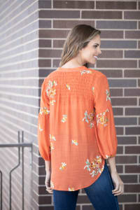 """Embroidered """"To Tie Or Not To Tie"""" Button Front Shirt - Back"""