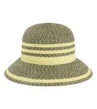 Two Tone Straw Contrast Striped Brim Straw Bucket Hat - Back