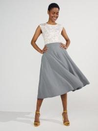 Tasmin Flare Floral Midi Skirts - Plus - Back