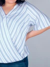Westport Stripe Wrap Front Top - Plus - Back