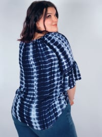 """Westport Tie Dye """"On And Off The Shoulder"""" Blouse - Plus - Back"""