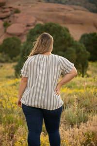 Roz & Ali Neutral Stripe Bubble Hem Blouse - Plus - Back