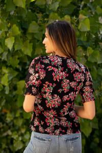 Roz & Ali Floral Peasant Blouse - Back