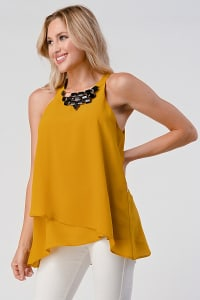 KAII Front Racer Double Layer With Jeweled Neck Top - Back