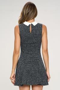 KAII Contrast Collar Flared Bottom Dress - Back