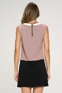 KAII Color Blocked Vegan Leather Contrasting Dress - Back