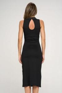KAII Embellished Beaded Front High Neck Mid Length Dress - Back