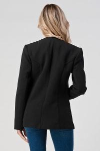 KAII Quilted Vegan Leather Panel Collarless Blazer - Back
