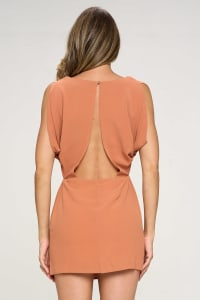 KAII Grecian With Gold Chain Necklace Tunic Dress - Back