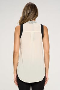 KAII Pearl On Collar Sleeveless Shirt - Back