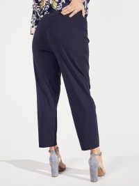 Roz & Ali Super Stretch Pull On Tummy Control Pants with Wide Waistband and Charm Trim - Plus - Back