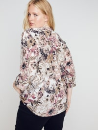 Roz & Ali Burgundy Floral Popover - Plus - Back