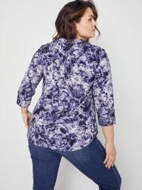 Roz & Ali Denim Friendly Tie Dye Popover - Plus - Back