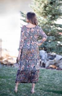 Veronica Black/Ivory Mixed Print Peasant Dress - Back