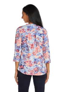 Coral And Blue Floral Pintuck Popover - Back