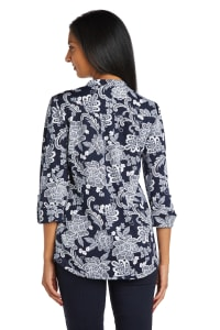 Floral Scroll Puff Print Popover - Back