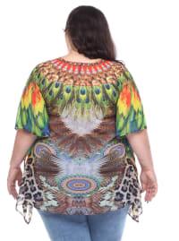 Animal Print Tie-Up Neckline Caftan - Plus - Back