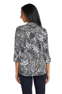 Black And White Paisley Pintuck Popover - Back